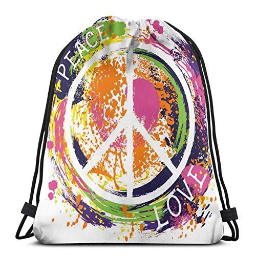 Hippie Símbolo de la Paz Bolsa de Bapa Sport Gym Sapa Impermeable Hombres Mujeres Cincha Bolsa para Viajes Yoga Playa Escuela