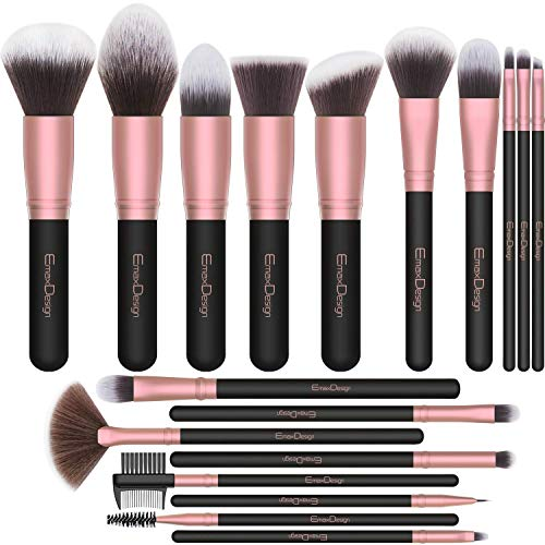 EmaxDesign Makeup Brushes18 Pcs Professional Makeup Brush Set Premium Synthetic Brush Foundation Blush Concealer Blending Powder Liquid Cream Face Eyeshadow Brushes Kit Rose Golden