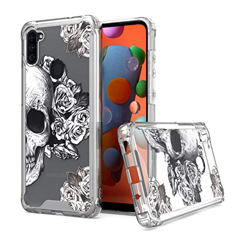 KWEICASE Cell Phone Case for Samsung Galaxy A11, Clear Acrylic Backing with Cool Skull Flowers Design, Slim Fit TPU Hybrid Shockproof Protective Cover