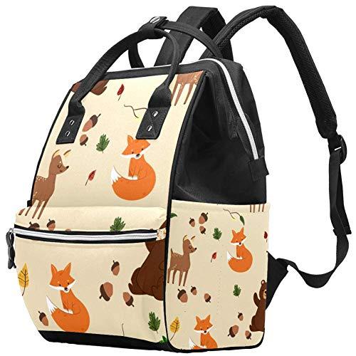 Oso Fox Deer Animal Pañal Bolsa Mochilas para portátil Mochila para portátil Viaje Senderismo Mochila para Mujeres Hombres