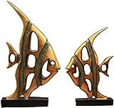 QHCS Ornamento Arte Decorativo Decoración para el hogar Adornos Estatuas Creativas Feng Shui Riqueza Peces de Colores...