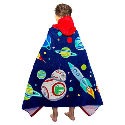 Poncho de baño para niños, 100 % algodón, toalla de baño para niños y niñas, absorbente, secado rápido, toalla con capucha suave para niños y niñas, 2 – 8 años (espacio)