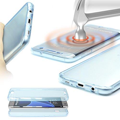 Urcover Custodia Compatibile con Samsung Galaxy A7 2015 Touch View Cover Protettiva 360 Grad Full Body Silicone con Proteggi Schermo Trasparente Case antishock - Blu