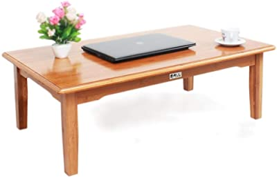Rectangular Solid Wood Tea Table Domestic Large Modern Design Low Table Bay Window Table Bamboo Coffee Table Bed Table Laptop Table (Color : Brown, Size : 80 * 60 * 42cm)