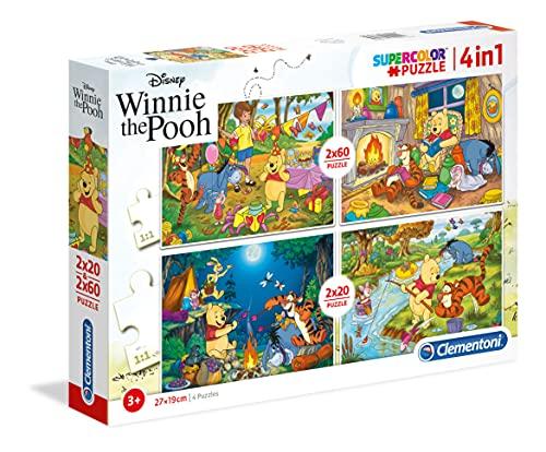 Clementoni 07618-Puzzle Supercolor Winnie the Pooh, 2 x 20 + 2 x 60 pezzi, Multicolore, 07618