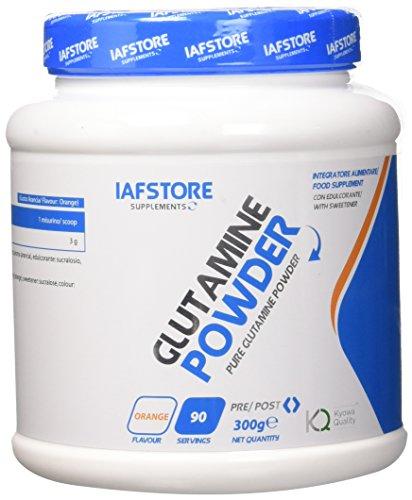 Iafstore Supplements Glutamine Powder Integratore Alimentare a Base dell'Aminoacido L-Glutamina, Arancia - 300 g