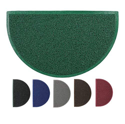 LucaHome - Felpudo Rizo Villena Verde Semiluna con Base Antideslizante Muy Absorbente, Felpudo 45x75cm Rizos PVC, Felpudo para Exterior e Interior