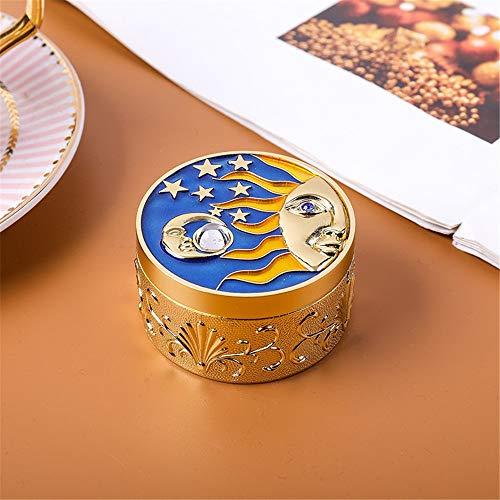 JTRHD Schmuck Display Display Lagerung Metall Kreative Moonlight Treasure Box Schmuck Prinzessin Aufbewahrungsbox Geschenk-Verpackung Box für Mädchen Damen Frauen (Farbe : Gold, Size : 6x3.5x4cm)