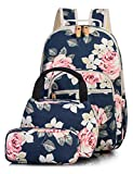Leaper Floral School Backpack for Girls Daypack Insulated Lunch Bag Purse Blue