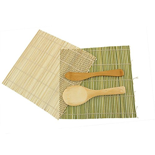JapanBargain 3675+3793, Bamboo Sushi Mat Roller Sushi Rolling Making Kit Rice Paddle Scoop Butter Spreader