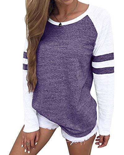 YOINS Pulli Damen Langarmshirt Sweatshirt mit Streifen Rundhals Ausschnitt Oversize Hemd, Streifen-lila, Gr.- M/ 40-42