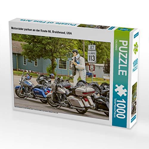 CALVENDO Puzzle Motorräder parken an der Route 66, Braidwood, USA 1000 Teile Lege-Größe 64 x 48 cm Foto-Puzzle Bild Verlag