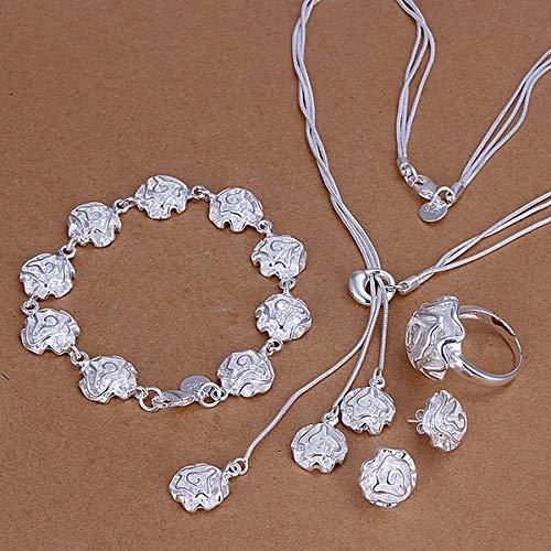 Boilyo Fine 925 Sets de Plata Joyas de Boda Charm Elegant Rose Flor Pulseras Collar Anillo Pendientes Pendientes Moda S320 (Ring Size : 7)