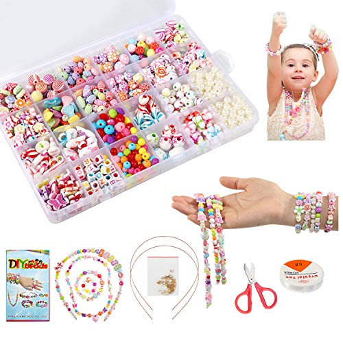 LEADSTAR Perline per Braccialetti Bambini, DIY Perline Jewellery Making Kit, Set di Perline Fai da Te Oggetti per Bambine, Colorate per Creazione di Gioielli, Giocattoli Educativi Regalo, 550+ Pezzi