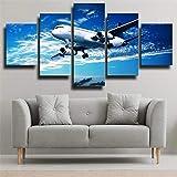 Cuadro En Lienzo Decoracion 5 Piezas Hd Imagen Impresiones En Lienzo Póster Pintura Aviones Militares Avión Blanco Volando En El Cielo Azul 5 Piezas Cuadro Moderno 150X80Cm Murales Pared Oficina Decor