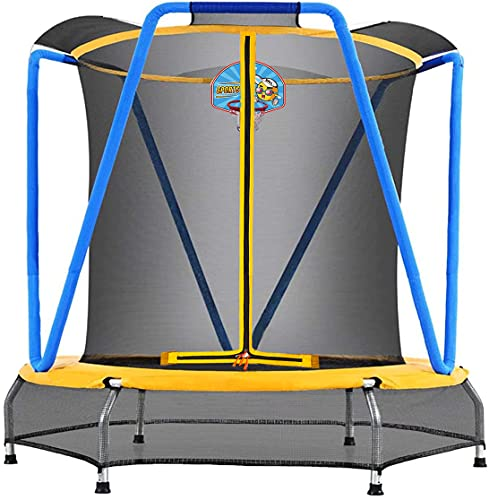 Zupapa 54 inch 66inch Small Trampoline with bascketball for Kids Children Mini Toddler Baby Trampolines with Enclosure Net Ultra Quiet