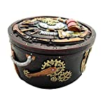 Gifts & Decor Round Steampunk Gearwork Time Waits for No Man Jewelry Box Trinket Figurine 6