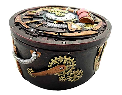 Gifts & Decor Round Steampunk Gearwork Time Waits for No Man Jewelry Box Trinket Figurine 3