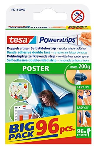 Tesa Powerstrips - Pack de cintas adhesivas de doble cara (96 tiras), blanco