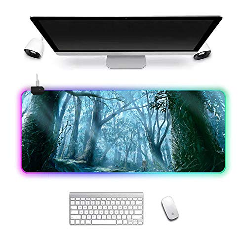RGB Gaming Mouse Pad XL LED Gaming Mouse mat Large Non Slip PC Table mat Waterproof Lock Edge Anime Forest 800x300x3mm