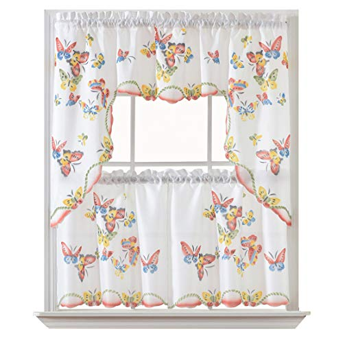 3pcs Kitchen Curtain / Cafe Curtain Set, Air-Brushed by Hand of Flying Butterfly Design. (Swag and 24 inches Tiers Set)