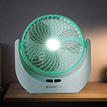 Figment Powerful Rechargeable High Speed Table Fan with LED Light for Home, Office Desk, Kitchen (Multicolour)