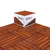 "Acacia Wood Flooring Tile Wooden Interlocking Floor Tiles with UV Protection Oiled Finish Snap Lock for Outdoor Decking Patio Deck Shower Balcony Backyard 12"" x 12"" Hardwood Boards Pack of 10"
