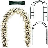 Arco de Jardín de Metal Arco de Boda Arco de Cenador de Jardín con Alambres de Hierro para Interiores Exteriores Boda Patio Enrejado Enredadera Decoraciones Fiesta Nupcial (Verde Oscuro)