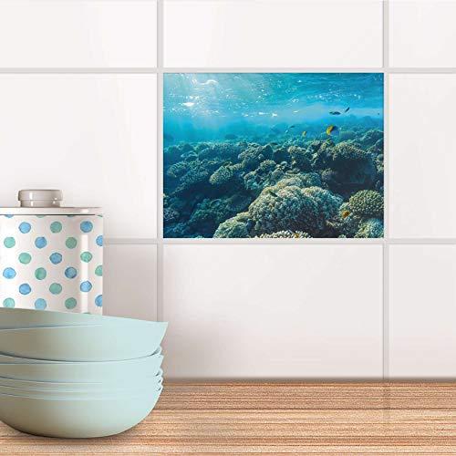 creatisto Fliesensticker für Bad und Küche I Fliesen Aufkleber Folie selbstklebend I Fliesen renovieren - Stickerfliesen für Küchen- und Badfliesen I Design: Underwater World