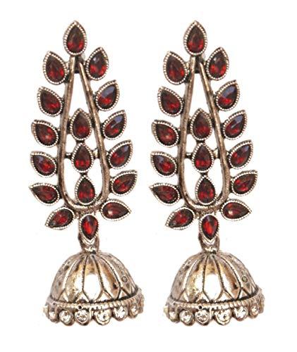 Pahal - Pendientes tradicionales de plata con diseño de hoja de Kundan grande, diseño de jhumka, joyería de novia india Bollywood para mujer