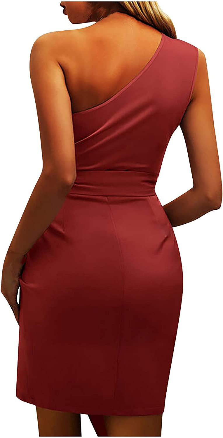 Women's Discount mail order Sexy Ruched Bodycon Selling Dress Asymmetrical One Club Shoulder