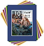 Mat Board Center, Pack of 10 11x14 Mixed Colors White Core Picture Mats for 8x10 Photos