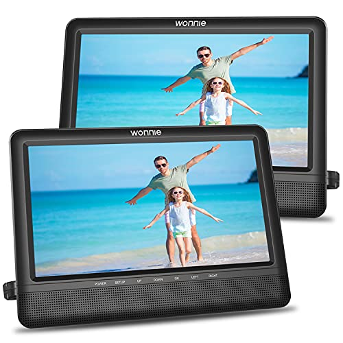WONNIE 10.5'' Dual Screen Car DVD Player with 2 Headrest Mounts Portable CD Players for Kids Built-in 5 Hours Rechargeable Battery Dual Stereo Speakers Great for Car Travel (1 Player+1 Monitor)