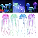 UEETEK 4pcs Que Brillan intensamente Medusas para la decoración del Acuario del Tanque de Pescados del Acuario