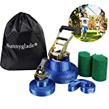 Sunnyglade 50ft Slackline Kit with Training Line, Tree Protectors, High Grade Ratchet, Arm Trainer and Carry Bag Complete Set for Kids and Adults