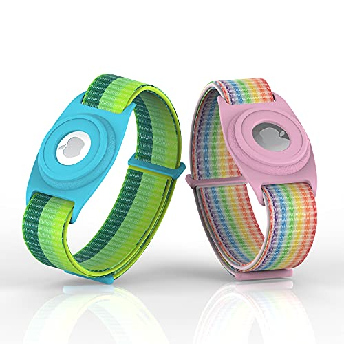 Airtag Watch Bands 2 Packs, Airtags Watch Case Compatible with Apple Airtag, Airtags Silicone Protective Cover with Strap Holder Lightweight Elastic Watch Band for Kids Toddler Baby Children Elders
