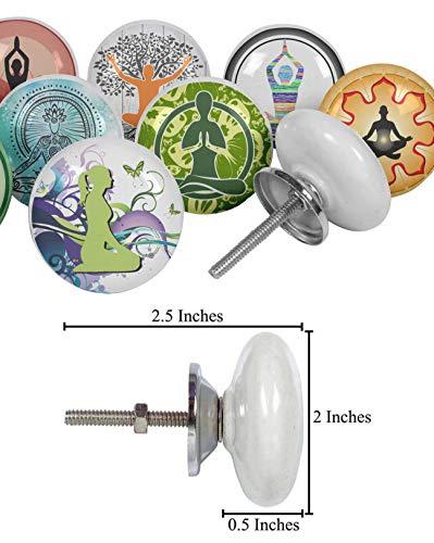 IBA Indianbeautifulart Multi kleuren Verschillende Yoga Vierkant Keramische Deurknoppen voor Dressoir Gedrukt Kast Laden Trekken (Round) 2 Inches Diameter Multi kleuren
