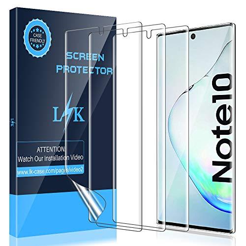 LK Compatibile con Samsung Galaxy Note 10 Pellicola Protettiva, 3 Pezzi,Sensibile al Tatto, Senza Bolle, HD Trasparente TPU Pellicola