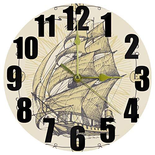 MUMIMI Aventura Navega Reloj Silencioso No Ticking Reloj de Pared Redondo Arte del Hogar Dormitorio Sala Oficina Decoración