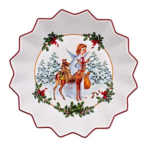 Villeroy & Boch - Toy's Fantasy Schale groß, Christkind, dekorative Weihnachtsschale aus Premium Porzellan, 24 x 24 x 4.5 cm, bunt/rot/weiß