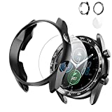 Case for Samsung Galaxy Watch 3 41mm TPU Protector Cover,Stainless Steel Adhesive Bezel Ring Anti Scratch Protective Cover+HD Glass Screen Protector-Black