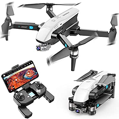 SIMREX X20 GPS Drone with 4K HD Camera 2-Axis Self stabilizing Gimbal 5G WiFi FPV Video RC Quadcopter Auto Return Home with Follow Me Altitude Hold Headless Brushless Motor Remote Control White