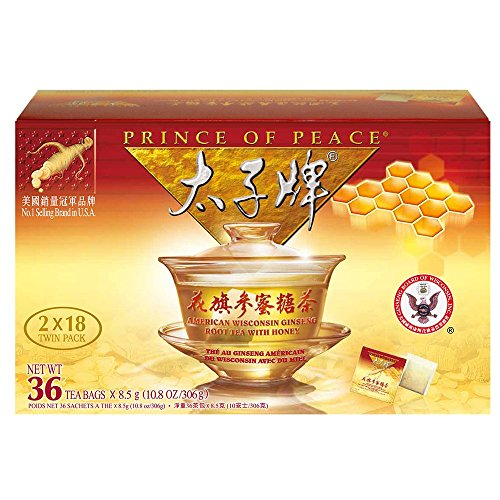 Prince of Peace®American Ginseng Root Tea w/Honey (Twin Pack 2 Boxes X 18 sachets)