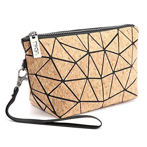 Tikea Make up Tasche von Kork, Geometrische Kosmetische Handtasche, Faltbar Aufbewahrungstasche, Leiterförmige Kosmetiktasche, Umweltfreundliche Geldbörse für Frauen Mädchen Kork