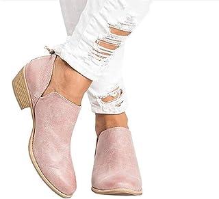 Botines Mujer Tacon Medio Planos Invierno Tacon Ancho Piel Botas Botita 3cm Casual Planas Zapatos Ankle Boots Caqui Rosa B...