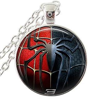 Spiderman Badass Art Glass Cabochon Silver Necklace Pendant