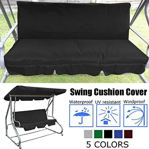 Patio Swing Cushion Cover, Waterproof Swing Seat Cover Replacement Outdoor Bench Cushion Covers Chair Protection for 3 Seater Swing Seat - 150X50X10cm