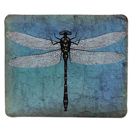 Yanteng Gaming Mouse Pad Libelle, Grunge Vintage Old Backdrop und Libelle Bug Ombre Bild, dunkelblauer Türkis und schwarz genähter Rand