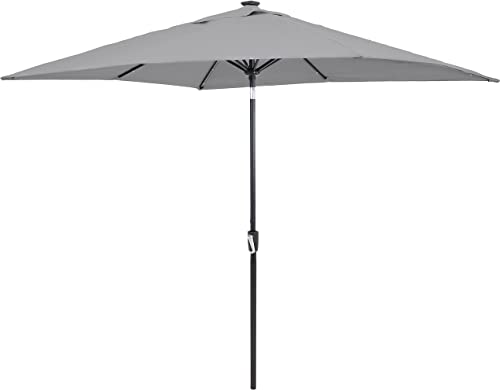 discount Sunnydaze Outdoor Rectangle high quality wholesale Market Patio Umbrella with Solar LED Lights - Push-Button Tilt and Crank - Aluminum Pole with Steel Ribs and Polyester Canopy - 8.75-Foot outlet online sale