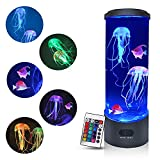 Jellyfish Lava Lamp, Jellyfish Lamp with 16 Color Changing Lights, Jellyfish Tank Table Lamp, Aquarium Tank Night Light, Home Office Room Desk Decor Lamp Mood Light for Relax
